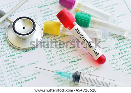 Blood sample for allergy profile test