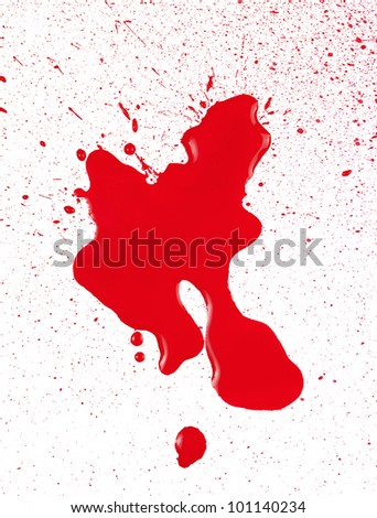 Blood spatter on white paper. - stock photo