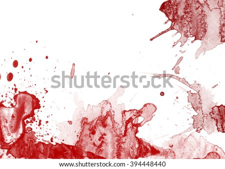 Blood splashes and stains on white background