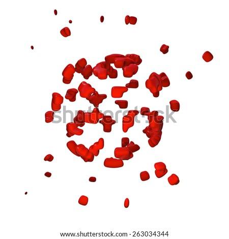 Blood splatter - 3d rendered illustration - stock photo