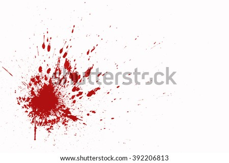 Blood splatter in front of a white background