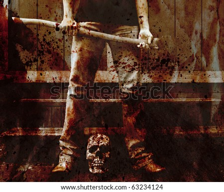 blood splattered scene of an axe murderer with the skull of the victim - stock photo