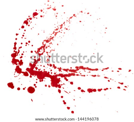 Blood splatters isolated on white. Clipping path. - stock photo