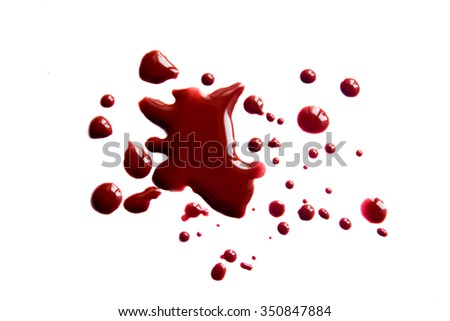 Blood stains (droplets) isolated on white background close up, horizontal