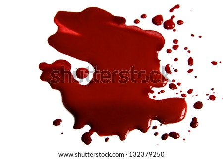 Blood  stains (puddle) isolated on white background. - stock photo