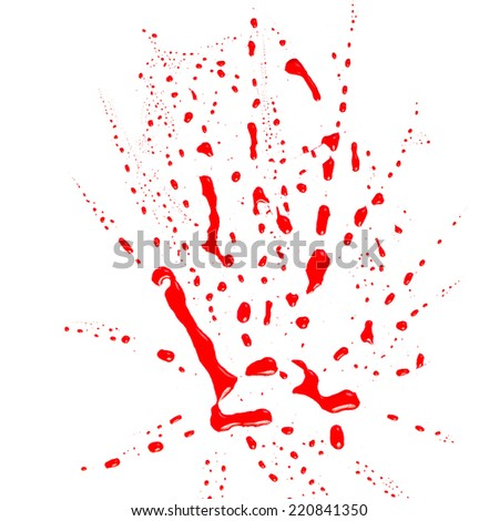 Blood stains (puddle) isolated on white background.Paint color dripping, - stock photo