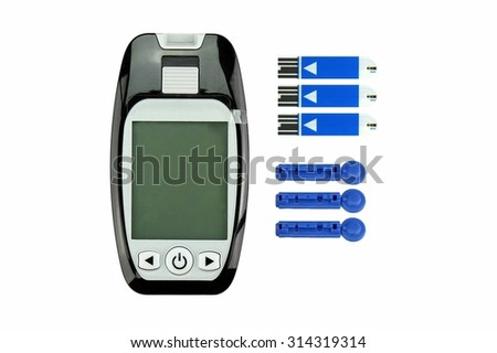 Blood sugar measurement isolated on white background, Diabetic kit, Syringe pen with insulin and glucometer, Blood glucose test, Blood glucose meter kit. - stock photo