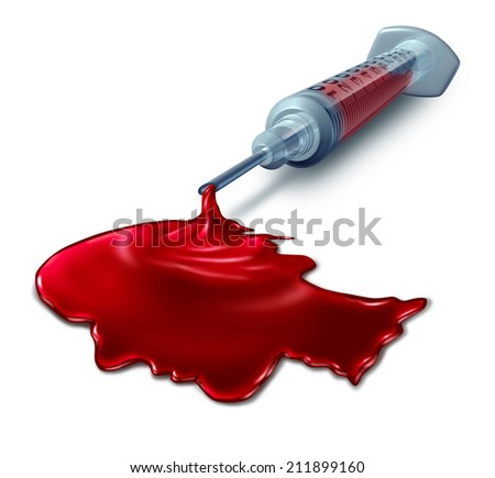 Blood test analysis medical concept as a syringe pouring human blood shaped as a head as a health care symbol for diagnosis testing for disease prevention through laboratory science. - stock photo