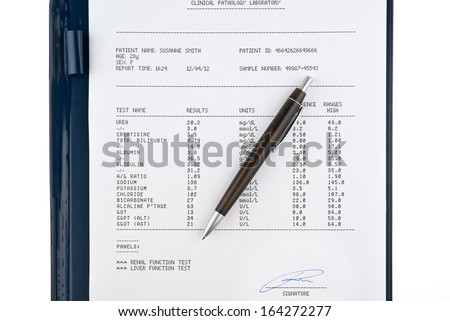 Blood test results in a clipboard isolated on white background