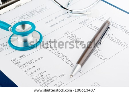 Blood test results with a clipboard with stethoscope