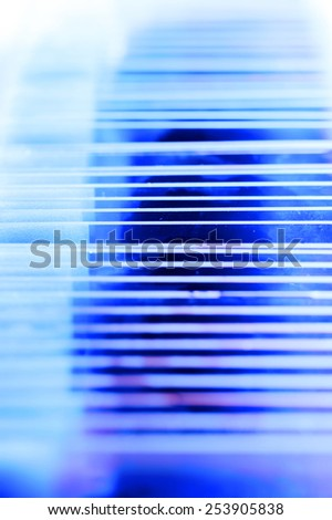 blood testing in laboratory for microscope take with blue filter - stock photo
