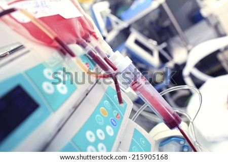 Blood transfusion in the ICU  - stock photo