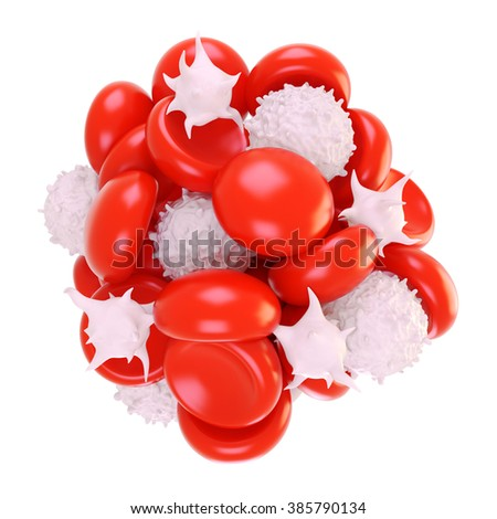 blood, white blood cells, red blood cells, platelets, white background isolate. - stock photo