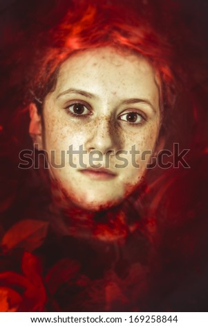 Blood, Young drown woman in a poetic representation. fantasy art - stock photo
