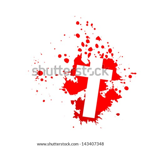 bloody background with a cross. Raster - stock photo