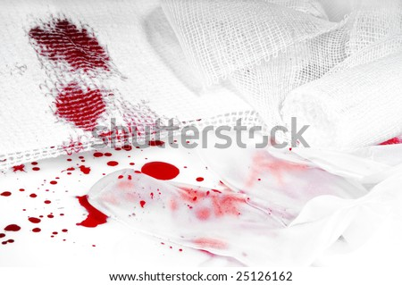 bloody bandage on white background - stock photo