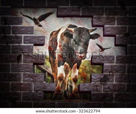 Bloody bull with crows struck a brick wall. Photos in the grunge style. - stock photo