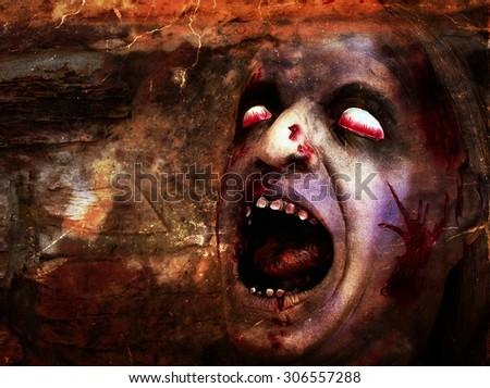 Bloody deformed head for Halloween - stock photo