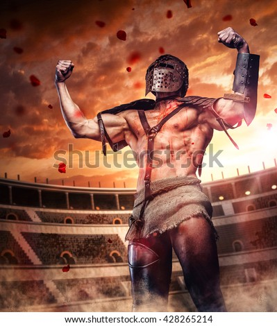 Bloody gladiator after fight on colosseum arena.