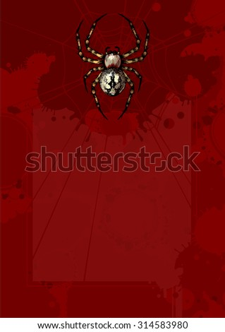 Bloody Halloween background with a spider (raster version) - stock photo