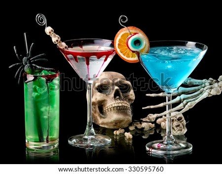 Bloody Halloween cocktails - stock photo