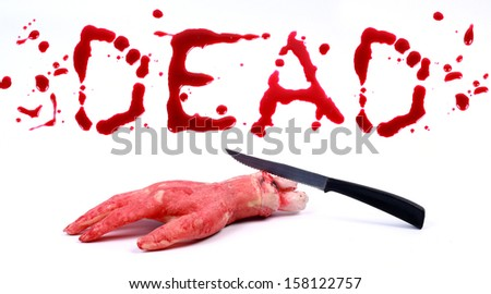 Bloody hand and a knife  isolated on white background .