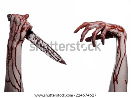bloody hand holding a knife, a large bloody knife, bloody theme, a killer with a knife, halloween theme, white background, isolated, violence, suicide, murder, a thug, a butcher
