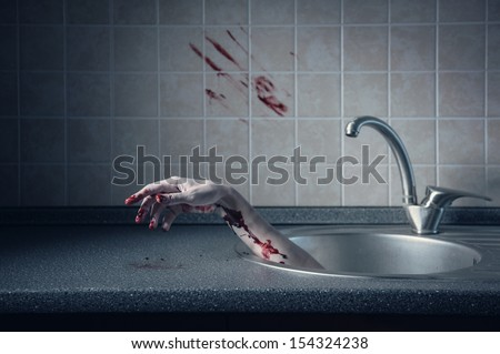 Bloody hand in kitchen sink, crime or Halloween concept  - stock photo
