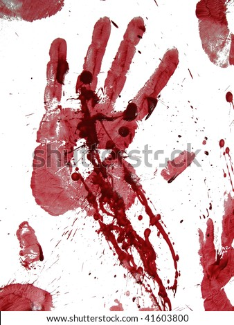 Bloody hand-print isolated