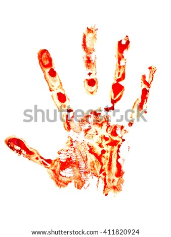 Bloody handprint isolated on white background - stock photo