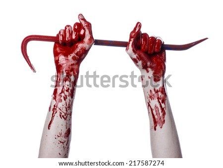 Bloody hands with a crowbar, hand hook, halloween theme, killer zombies, white background, isolated, bloody crowbar