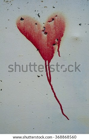 bloody heart - stock photo