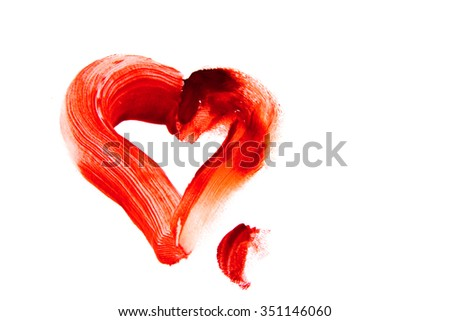Bloody heart shape stain (smear) isolated on white background