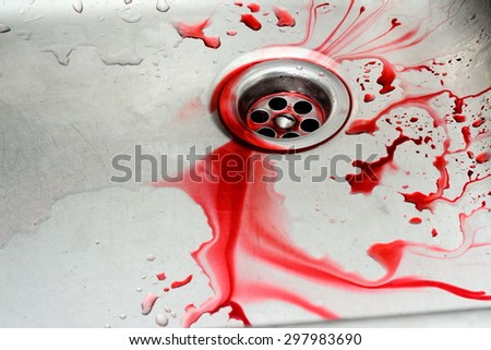 Bloody in sink with flowing red blood. Murder concept background - stock photo