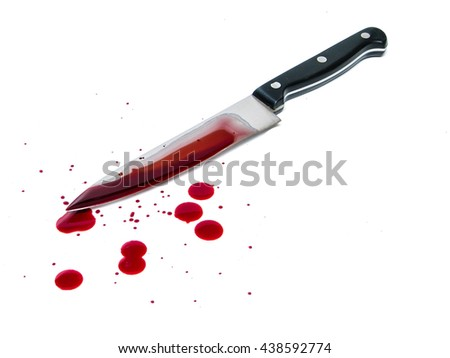 Bloody kitchen knife, and blood spots on the white background
