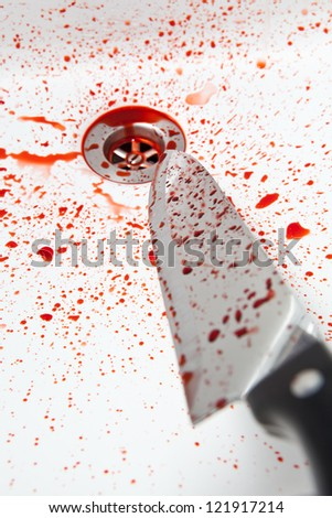 Bloody knife - stock photo