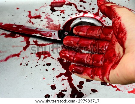 Bloody knife and hand in sink with flowing red blood. Murder concept background