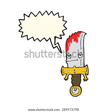 bloody knife cartoon character with speech bubble - stock photo