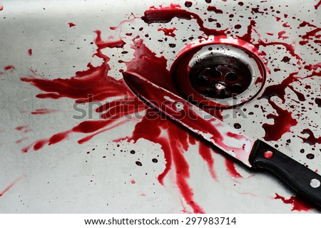 Bloody knife in sink with flowing red blood. Murder concept background - stock photo