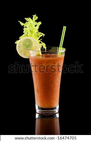 Bloody mary cocktail isolated on a black background - stock photo