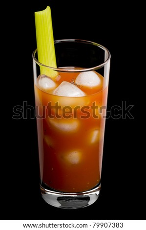 Bloody mary cocktail over a black background