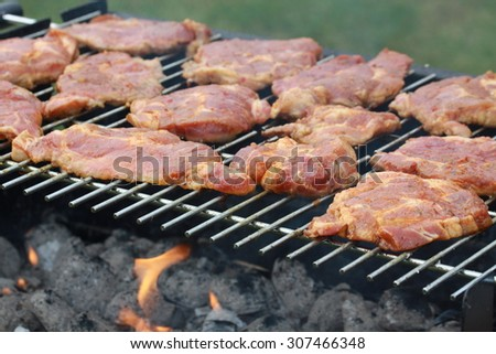 Bloody neck on barbecue