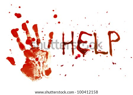 Bloody print of a bleeding hand on a white background with the letters HELP - stock photo