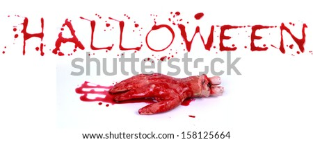 Bloody print on a white background with the letters HALLOWEEN
