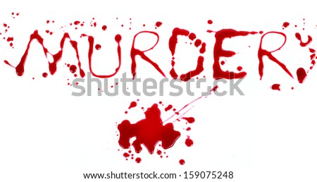 Bloody print on a white background with the letters MURDER