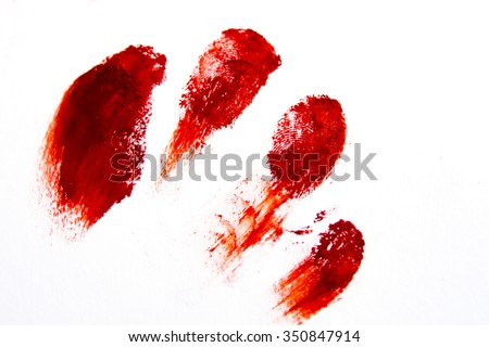 Bloody red finger prints isolated on white background (set, setting)