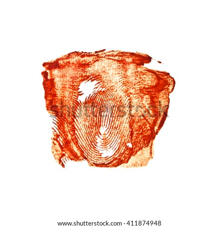 Bloody red fingerprint isolated on white background - stock photo