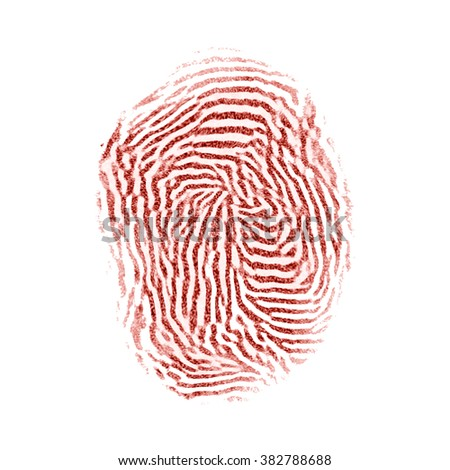 Bloody red isolated fingerprint on white background