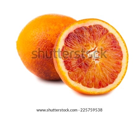 Bloody red oranges fruits isolated on white background