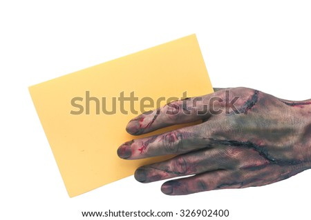 Bloody zombie hand,demon hand Holding Blank Paper in white background - stock photo